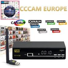 1 Année CCCAM Europe V8 super DVB-S2 Récepteur Satellite Décodeur mieux que openbox Pris En Charge Pleine powervu cccam bisskey IPTV