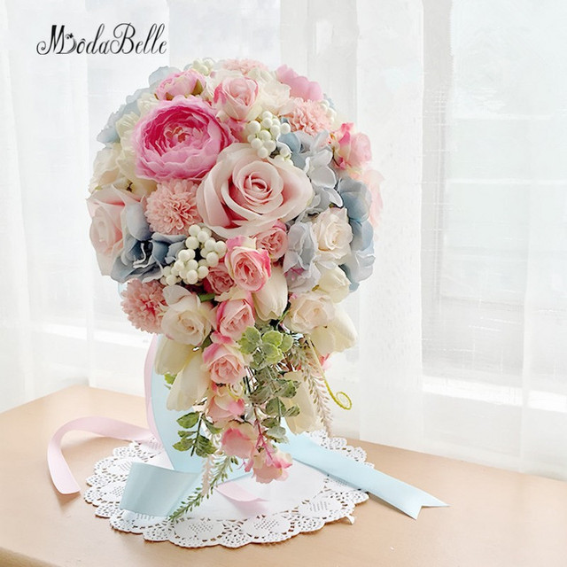 2017 Pink Blue Purple Waterfall Brooch Bouquet Bridal Flowers Artificial Wedding Bouquets For Brides