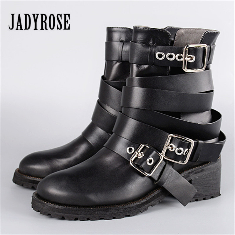 Jady Rose Ankle Boots for Women Straps Buckle Genuine Leather Autumn Boots Platform Short Booties Female Flat Rubber Martin Boot jady rose vintage brown women genuine leather mid calf boot chunky high heel platform boots straps buckle decor martin botas