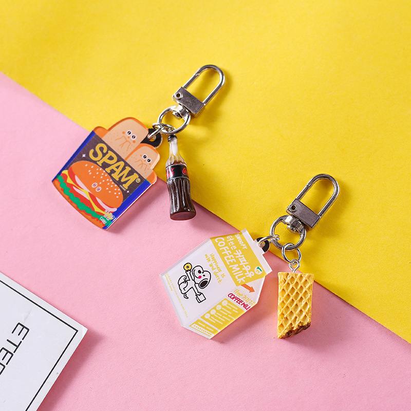 Mini Cute Resin Simulation Food Key Chains Bags Car Key Ring  Burger Keychains Women Keychain Accessories Small Gifts Pendant