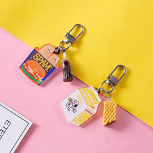 Mini Cute Resin Simulation Food Key Chains Bags Car Key Ring  Burger Keychains Women Keychain Accessories Small Gifts Pendant creative simulation lobster key chains pendant popular key ring ornament cute gifts ls1908052