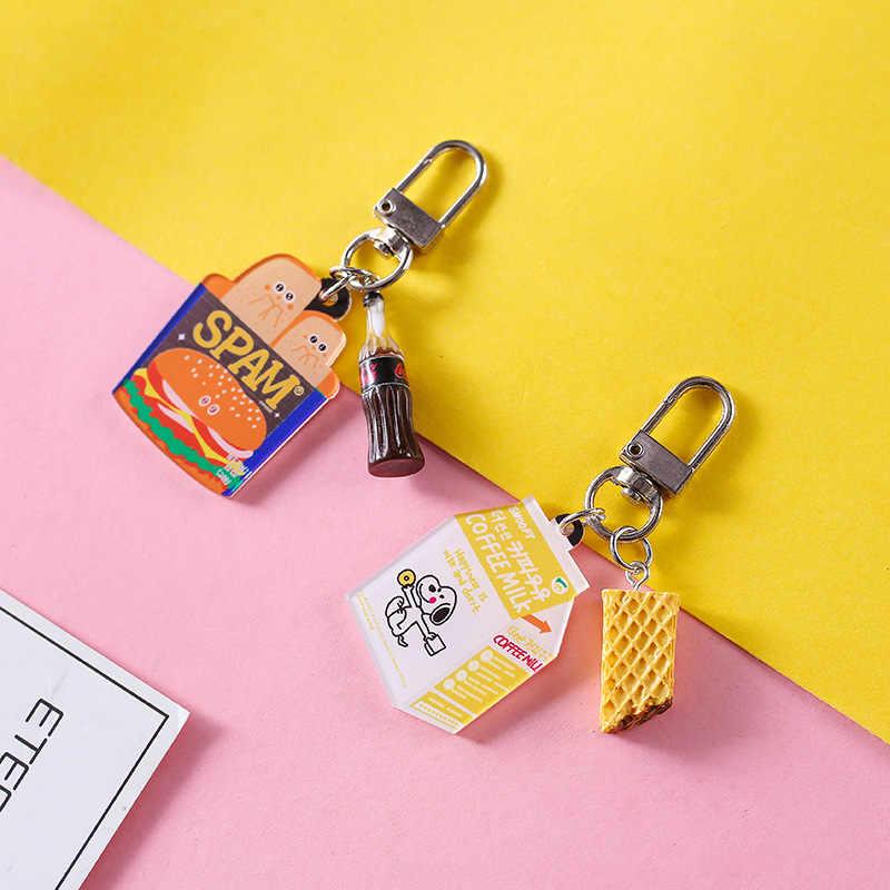 Resina Bonito Mini Sacos Anel Chave Do Carro Chaveiro Alimentos Simulação Hambúrguer Chaveiros Mulheres Acessórios Keychain Pequenos Presentes Pingente