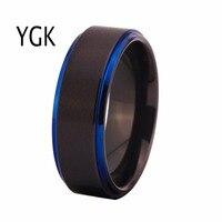 Free Shipping Customs Engraving Ring Hot Sales 8MM Black Matte Center Blue Steps Comfort Fit Design