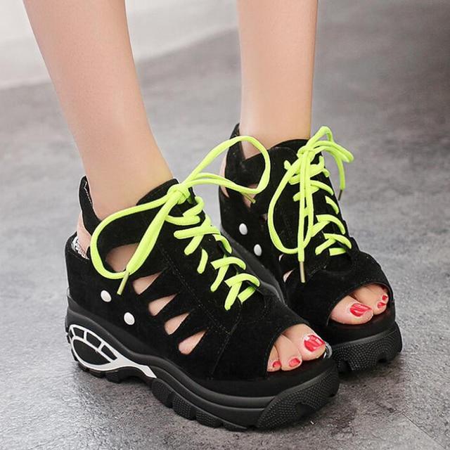 נשים סנדלי 2018 חדש עזיבות נשים פלטפורמת קיץ נעליים נוח מזדמן טריז סנדלי החלקה נשים ספורט נעליים