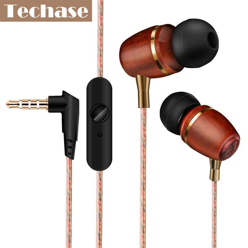Techase Headset Wooden Headphones Wired Control Fone De Ouvido With Microphone Earphone Compatible For Phones Tablet MP3 Player atmega16a chip core avr scm development board learning board test board programmer with pins