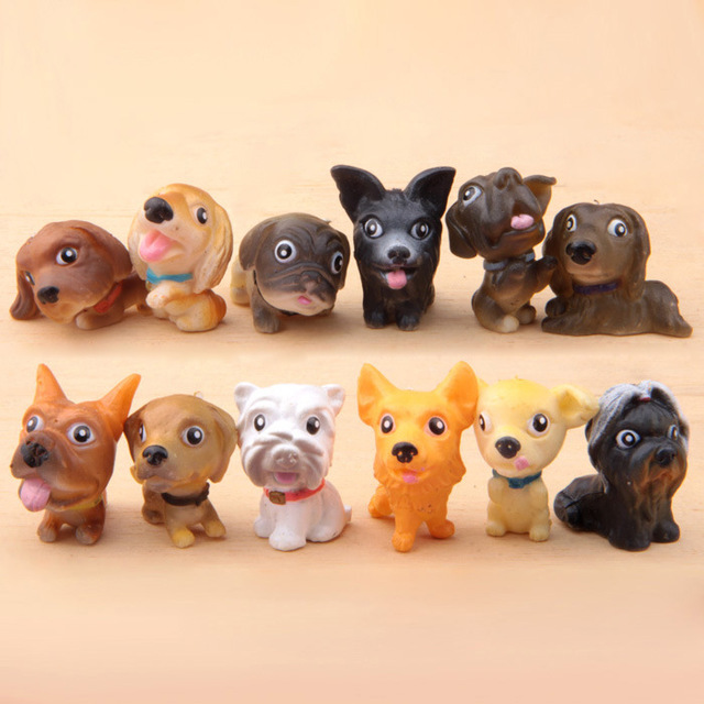 12pcs, BOHS My Dog Puppy Collections  Micro Landscape Potted Flowers Inserted Gardening Ornaments Animal Figures Toys