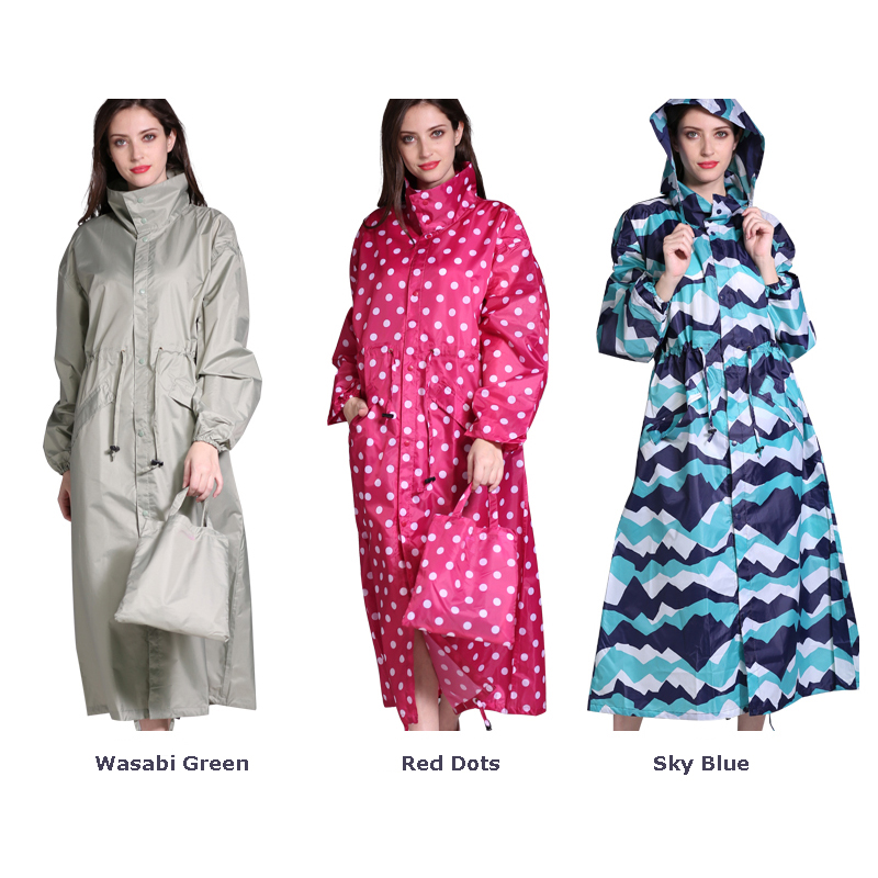 Freesmily Women's Brand New Stylish Long Rain Poncho Waterproof Raincoat With Hood and Multicolor Pattern