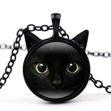 24 Color Pendant Necklaces Lovely Black Cat Made Glass Ball Chain Shape Pendant Necklace Gift Choker Necklace(China)