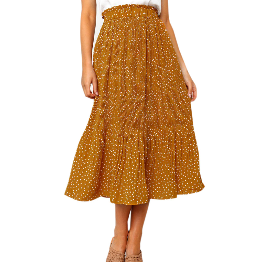 Summer Skirts Womens Fashion Party Cocktail Summer Women Dot Printed Skirt High Waist Long Skirt faldas mujer moda 2020 #N45