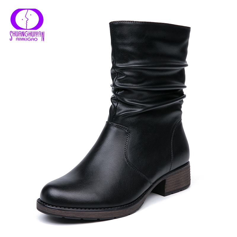 Pour brown Qualité Cheville Haute Cuir Black En Rétro Femmes Style Souple Chaussons Court Appartements Bottes Plat Aimeigao Chaud lwiPZTXOku