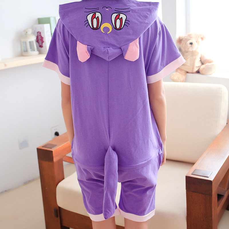 Kawaii Purple Cat სპორტული Onesie Hoodie Pajamas - საკარნავალო კოსტიუმები - ფოტო 4