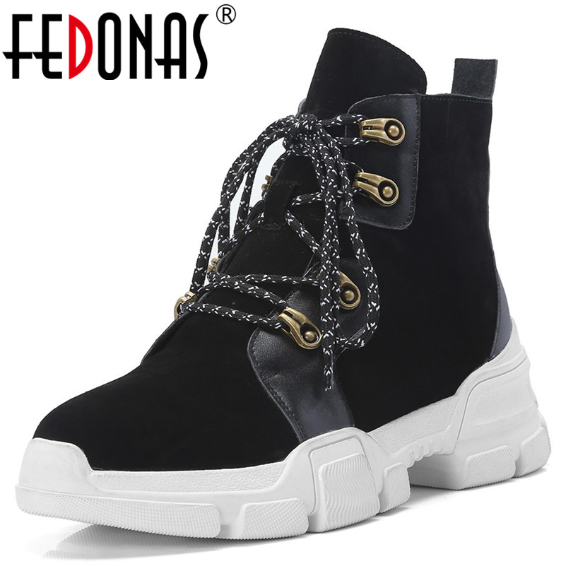 FEDONAS New Women Ankle Boots Platforms Lace Up Short Martin Shoes Woman Wedges High Heels Cow Suede Punk Motorcycle Boots