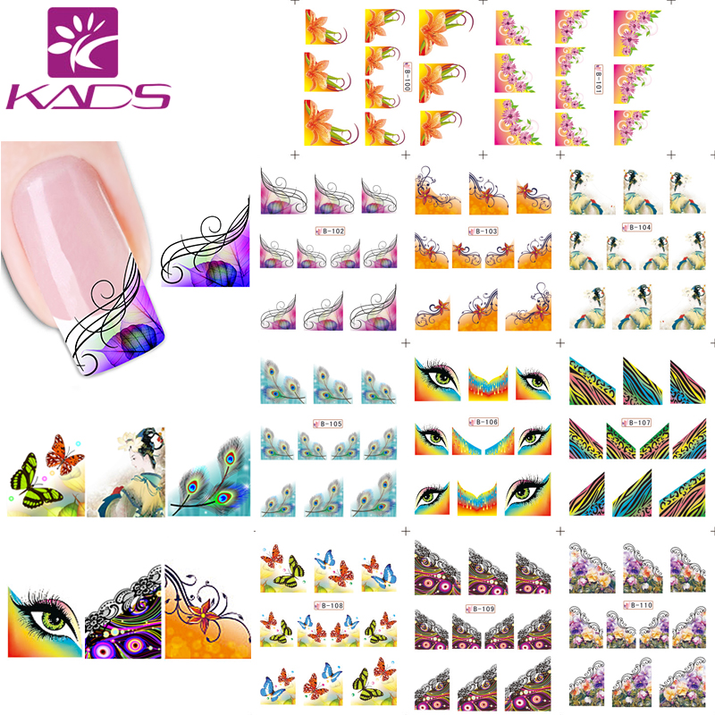 KADS 11sheet / SET Vanndekal Nail Stickers Dekaler France Design Nail Sticker For Nail Tilbehør Nail Water Transfer