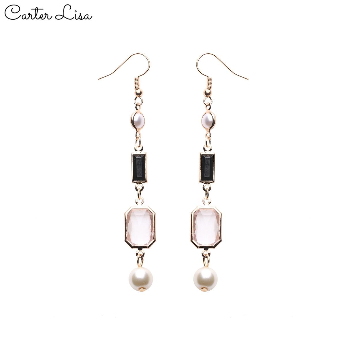 CARTER LISA 2019 New Selling Fashion Women's Fashion Long Elegant Crystal Rhinestone Dangle Ear Drop Earrings Jewelry HDEA-071