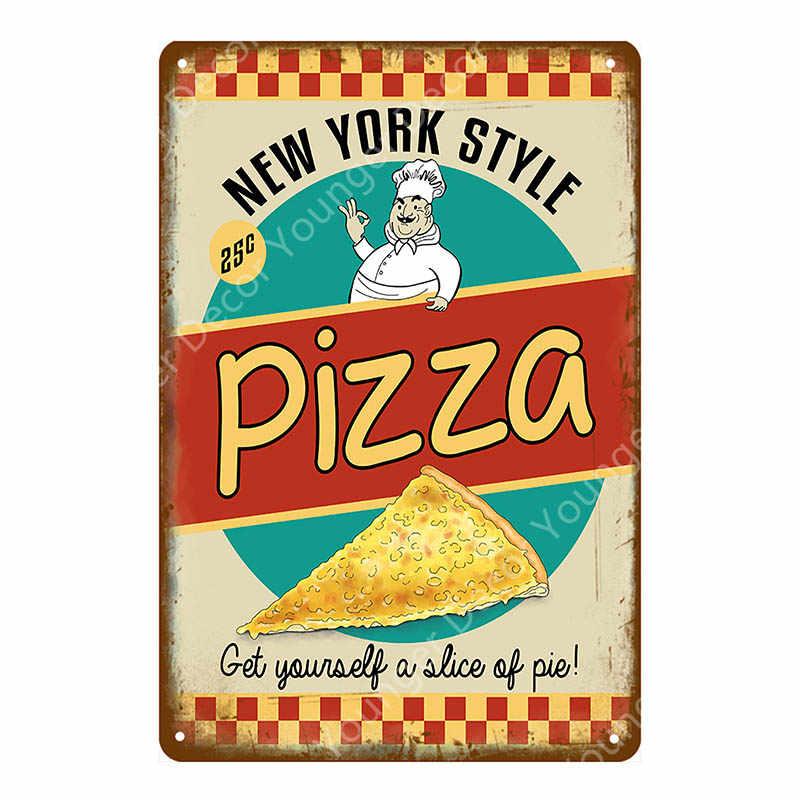 Nowy jork Pizza plakat Retro gorąca Itlian Pizza Pie Popcorn dekoracje ścienne metalowe znaki strona główna dekoracja kuchenna w stylu Vintage tablice