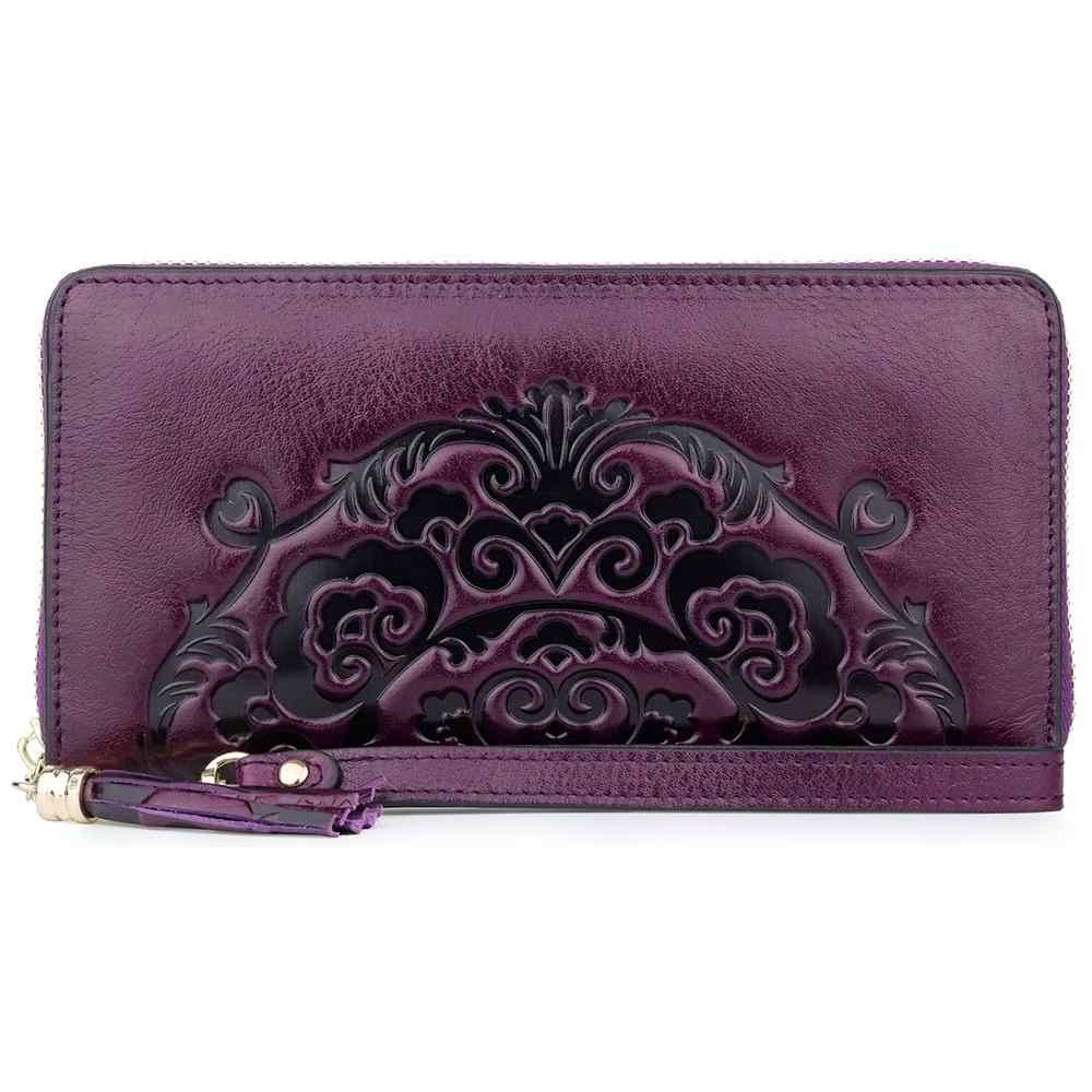 ファッション本革の女性長財布エンボス高級ブランドデザイナー女性財布小さなコインポケット女性ジッパー財布
