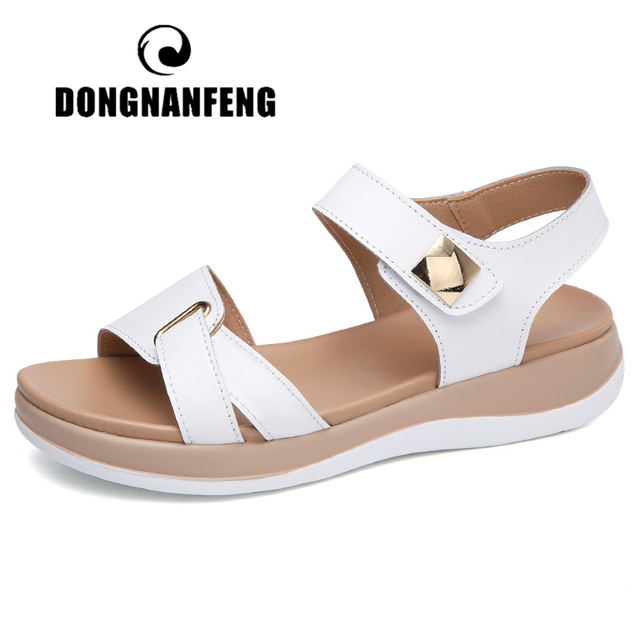 DONGNANFENG Kadın Kadın Bayanlar Anne Hakiki deri ayakkabı Sandalet Flats Yumuşak Kanca Döngü Kore Bling Yaz Plaj NM-1003-1