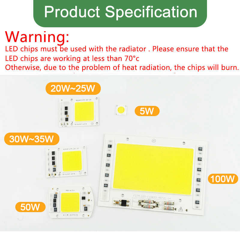 Kaguyahime AC 220V 5W~100W Integrated COB LED Lamp Chip 50W 30W 20W 10W Smart IC Driver High Lumens For DIY Floodlight Spotlight