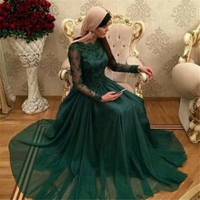 Arabic Turkish Hijab Emerald Green Lace Formal Evening Party Dress Long Sleeve Kaftan Abiye Prom Gowns