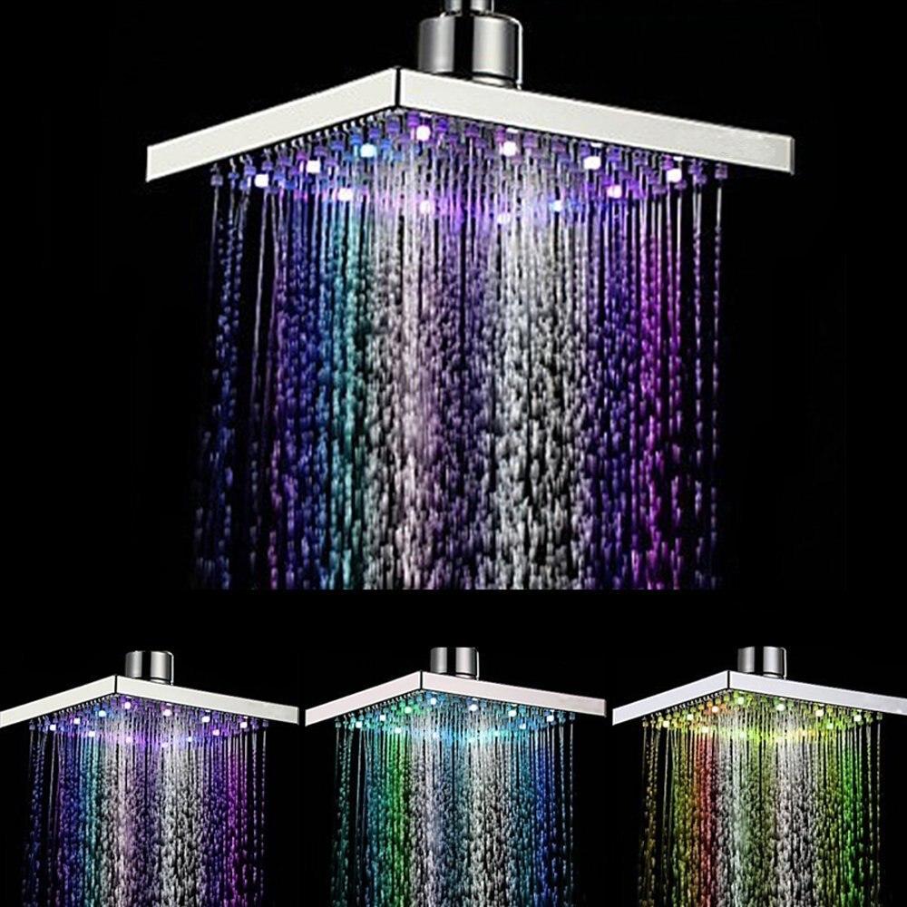 Xueqin cuadrado ABS temperatura sensible lluvia LED ducha flujo de agua 8 cambio de Color 150x150x15mm acabado cromado