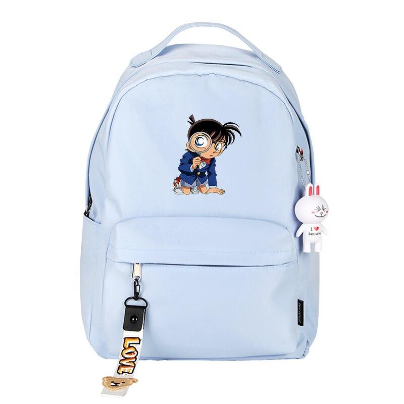 Japanese Cartoon Detective Conan Printing Backpack Kaitou Kiddo Cosplay School Bags Women Pink Backpack Nylon Travel Backpack