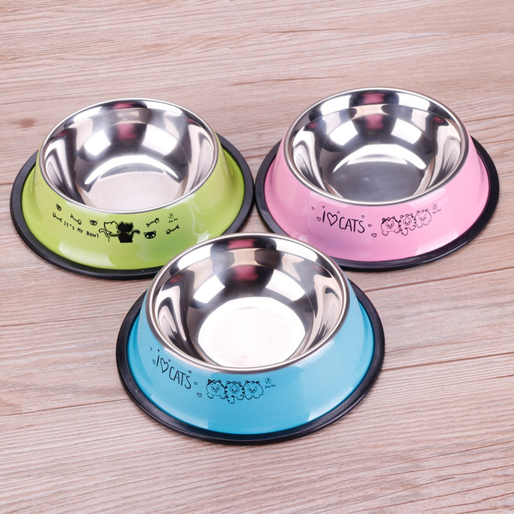 Lovely Pet 3 Colors Stainless Steel Dog Bowl Food Water Drink Dishes Feeder For Cat Puppy Dog #261535
