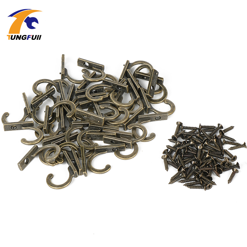 22*21*8mm 50PCS Small antique decorative single hook for clothes wall hanger Robe Coat Wall Hanging Hooks Bronze Tone