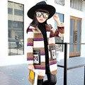 2017 осень и зима новый большие Девочки ветровка длинные шерстяные полосы пальто дети шерстяной жакет И Пиджаки 6-12 лет старый