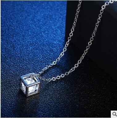 สแควร์ Cube สร้อยคอและจี้คริสตัลยาวสร้อยคอเครื่องประดับสำหรับผู้หญิง Cubic แฟชั่นหญิงของขวัญ