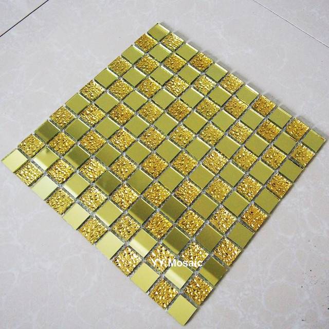 Gold Mirror Glass Mosaic Tile Shower Bathroom Wall sticker Wall ...