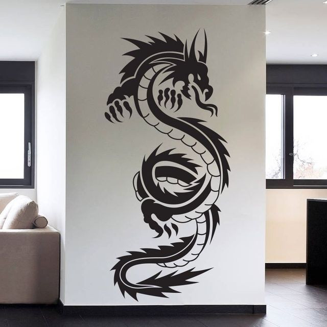 removable high quality vinyl wall art decals sticker chinese dragon