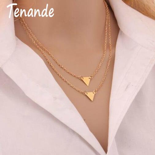Tenande Simple Style Punk Double Layer Charm Chain Jewelry Gold Color Small Sequins Triangle Necklaces & Pendants for Women Gift