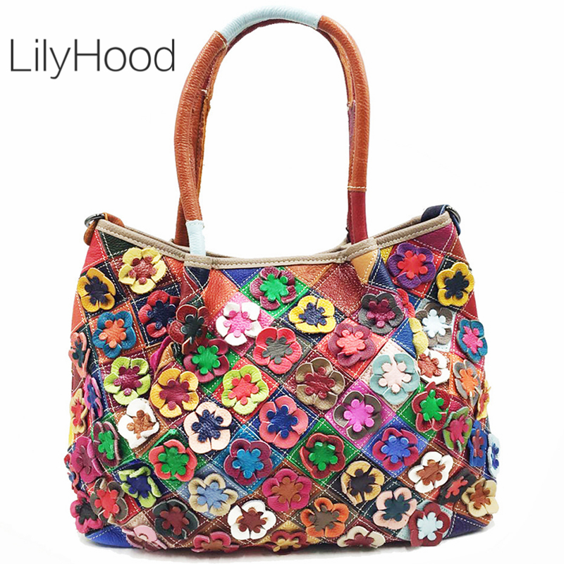 Big Capacity Genuine Leather Tote Bag Multicolor Flowers Crossbody Bag for Women Casual Leisure Real Leather