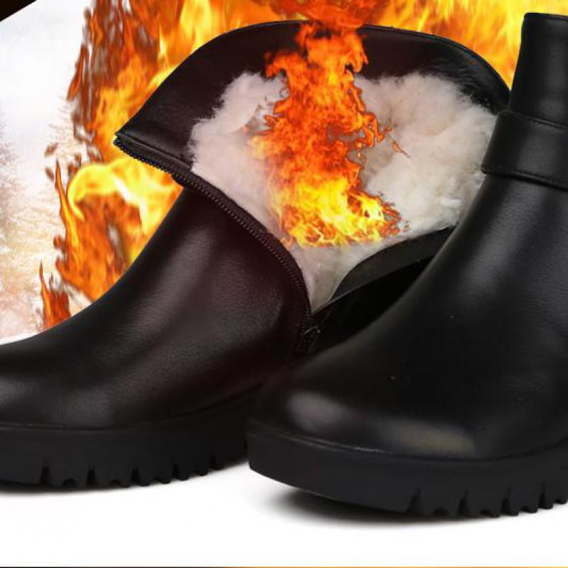 2017 Plus Size Women Winter Snow Boots Plush Insole Designer Genuine Leather Ankle Boots Low Heel Warm Wedge Shoes Waterproof roxdia men boots man shoes genuine leather autumn winter snow ankle lace up waterproof warm plush black plus size 39 50 rxm1004
