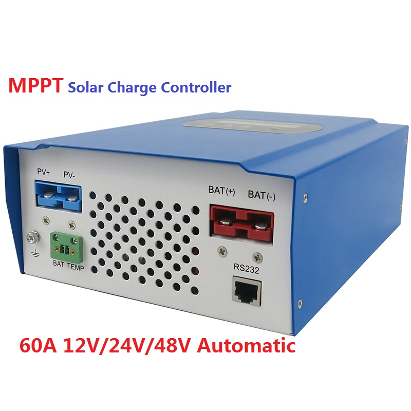 MPPT Solar Charge Controller 60A 12V/24V/48V Automatic Recognition 60A MPPT Solar Charge Controller promotion tattoo machine power supply digital foot pedal switch 8 clip cord tattoo grommets tattoo kit free shipping