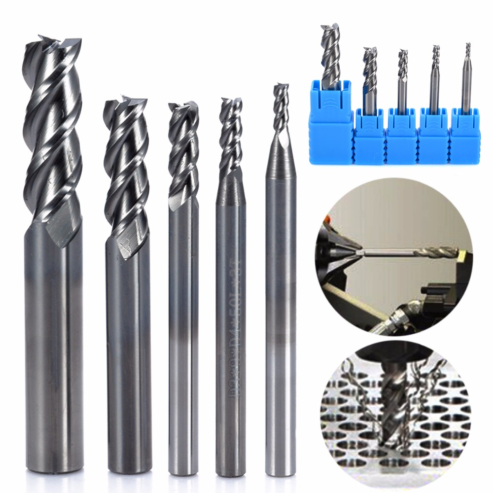 5pcs Solid Carbide CNC End Mill Set 3 Flute HRC50 Aluminum Milling Cutter 2/3/4/6/8mm Power Tool Accessories 3 175 12 0 5 40l one flute spiral taper cutter cnc engraving tools one flute spiral bit taper bits