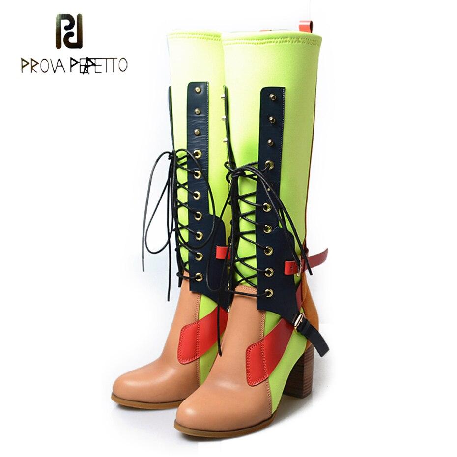 Prova Perfetto/разноцветные сапоги до колена из натуральной кожи; женские сапоги гладиаторы из лайкры в стиле пэчворк; обувь на высоком массивном