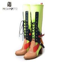 582df2fa9 Prova Perfetto cor mista de couro real do joelho botas altas das mulheres  lycra patchwork sapatos gladiador cruz frente amarrado.