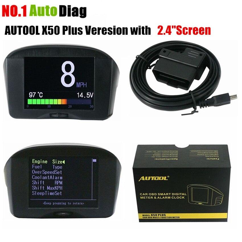 imágenes para AUTOOL 2.4 ''Multi-Función OBD Coche Medidor Digital Inteligente y Código de Falla de Alarma de temperatura del Agua medidor de voltaje velocidad pantalla del medidor