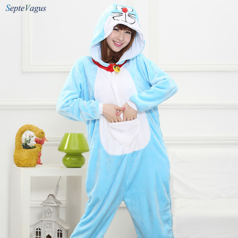 Unisex Adults Flannel Hooded Pajamas Cosplay Cartoon Animal Doraemon Onesies Sleepwear For Women Men
