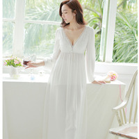 Autumn winter women Pijamas Lace 100% cotton Women Long Nightgown Princess Pyjamas white Sleepwear roupas de dormir femininas
