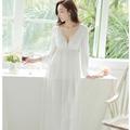 Outono inverno mulheres Pijamas Lace 100% algodão Mulheres De Longo Princesa Camisola Pijamas Sleepwear branco roupas de dormir femininas