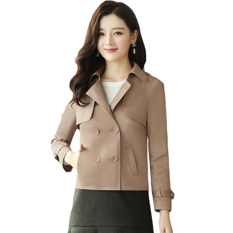 2018 Women's SpringAutumn Short Slim   Trench   Coats Solid High Quality All Match Female Notched Collar Windbreaker for Women XH770