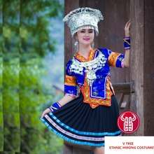 New woman Embroidery Tujia/Miao/ Dong dance wear female ethinc Hmong silver costumes stage performance  chinese folk dance dress