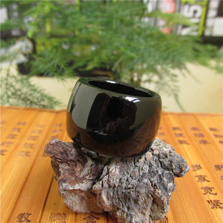Cool แหวนนิลสีดำธรรมชาติหยกนิ้วมือแหวนดึงที่ผู้ชายของแท้