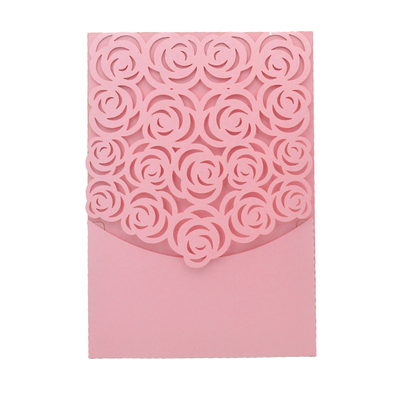 Wedding Invitations Pocket Style: Laser Cut High Quality Classic Rose Style Pocket Wedding