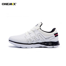 Onemix men's running shoes leather athletic shoes outdoor men's sport sneakers for jogging trekking long distance run shoes