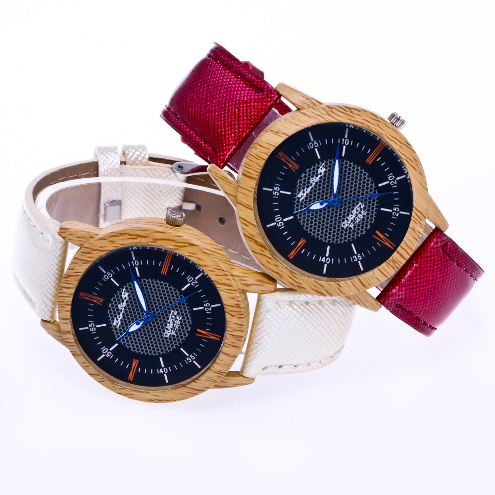Watches Wooden Clock Minimalist Fashion Cool Wood-Grain-Crystal-Belt Bamboo Nature