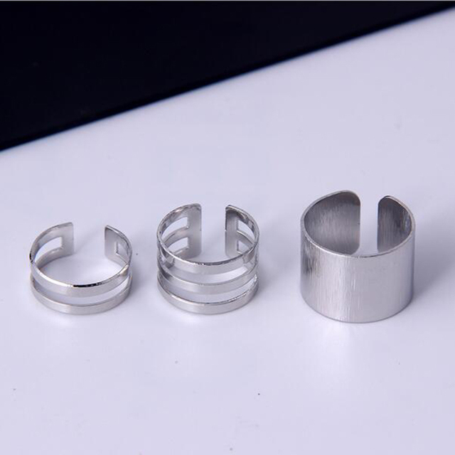 1 Set/3 Pcs Punk Gold Silver Rings 4