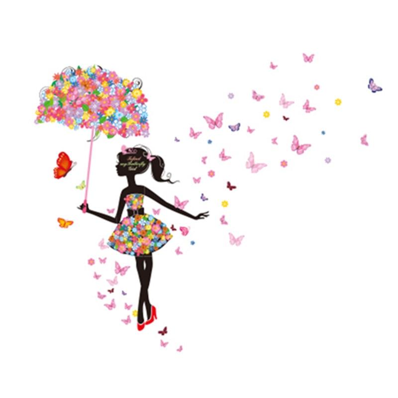 Comprar flor elf rama paraguas chica for Vinilo habitacion chica
